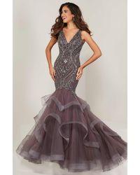 Tiffany Designs Beaded V-neck Asymmetric Mermaid Dress - Multicolour
