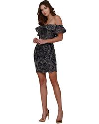 Nox Anabel - Ruffled Off-shoulder Embroidered Fitted Dress - Lyst