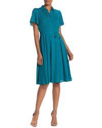 Nanette Lepore Pleated Front Flared Short Dress - Blue