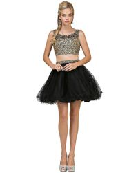 Dancing Queen 2007 Two Piece Jewelled A-line Cocktail Dress - Black