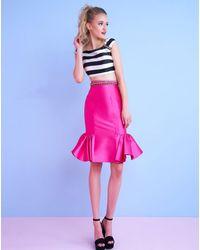 Mac Duggal Two Piece Ruffled Hem Mikado Dress C - Multicolour