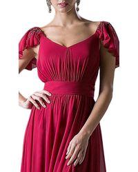 Cinderella Divine Embellished Ruched Wide V-neck A-line Dress - Red