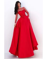 Tarik Ediz 50679 Net Long Sleeve Pleated Ballgown - Red