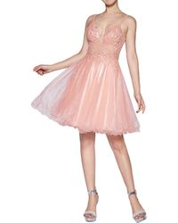 Cinderella Divine Thin Strapped Jewelled Lace Applique Dress - Pink