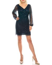 Adrianna Papell Ap1e206864 Beaded Cocktail Dress - Blue