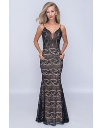 Nina Canacci Lace Plunging Sweetheart Mermaid Gown - Black