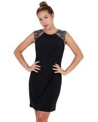 Patra P1283 Embellished Jewel Sheath Dress - Black