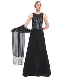 Sue Wong Bejeweled Bateau Neck A-line Dress N5338 - Black