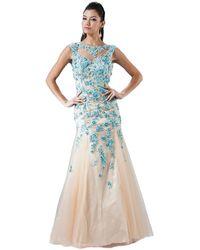 Cinderella Divine Sleeveless Floral Embellished Mermaid Evening Gown - Blue