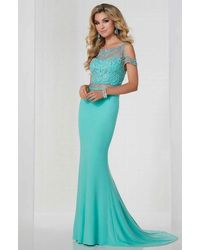 Tiffany Designs 46116 Beaded Cold Shoulder Fitted Evening Gown - Blue
