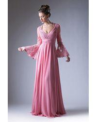 Cinderella Divine Embellished Lace Long Bell Sleeve A-line Dress - Pink