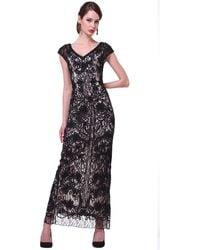Cinderella Divine V-neck Lace Overlay Sheath Evening Gown - Black