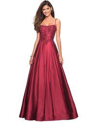 La Femme 27222 Sleeveless Lace Applique Mikado A-line Gown - Red