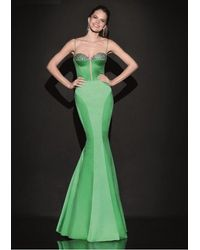 Tarik Ediz Sculpted Seamed Gown 92488 - Green