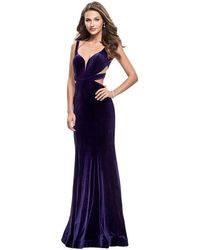 La Femme Plunging V-neck Sheath Evening Gown - Blue