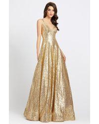 Ieena Duggal Allover Sequin Sleeveless A Line Gown C - Metallic