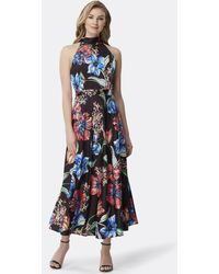 Tahari Halter Neck Floral Satin Flared Dress - Blue