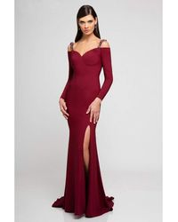 Terani Couture 1723e4502 Cold Shoulder Long Sleeve Sheath Gown - Red