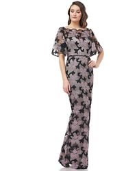 JS Collections 866941 Floral Embroidered Illusion Bateau Long Dress - Black
