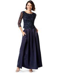 Patra Sequined Quarter Sleeve Bodice Dress - Blue