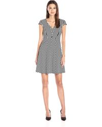 Adrianna Papell - Striped V-neck A-line Cocktail Dress - Lyst