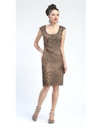 Sue Wong Cap Sleeve Scoop Neck Embroidered Dress - Brown