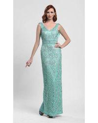 Sue Wong Embroidered V-neck Sheath Evening Dress - Blue