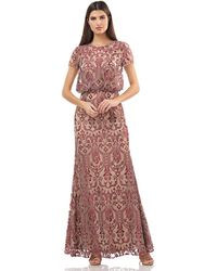JS Collections 866967 Embroidered Blouson Long Dress - Multicolor
