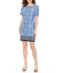 Sandra Darren Short Sleeve Printed Sheath Dress - Blue