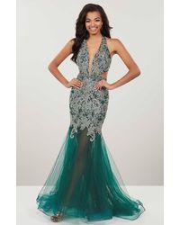 Panoply Heavily Beaded Plunging V-neck Mermaid Dress - Multicolour