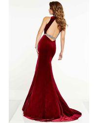 Panoply Jewel Keyhole Cutout High Slit Sheath Dress - Red