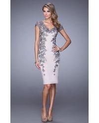 La Femme 21683sc Cap Sleeve Floral Lace Appliqued Sheath Dress - Purple