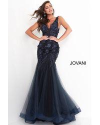 Jovani Floral Lace Appique Plunging V-neck Evening Dress - Blue