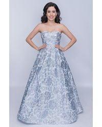 Nina Canacci Metallic Floral A-line Evening Gown - Blue