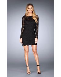 La Femme 25134 Long Sleeved Lace Cocktail Dress - Black