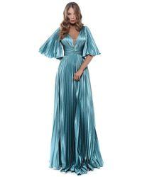 Tarik Ediz V Neck Bell Sleeve Pleated A-line Gown - Blue