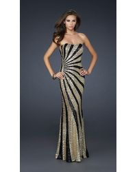 La Femme 17456 Two Tone Sequined Semi-sweetheart Long Column Dress - Multicolor