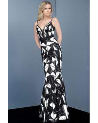 Jovani 2250 Bedazzled Deep V-neck Trumpet Dress - White