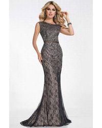 Tiffany Designs Beaded Lace Cap Sleeve Bateau Sheath Dress - Grey