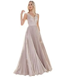 Cinderella Divine Plunging V-neck Metallic Glitter Dress