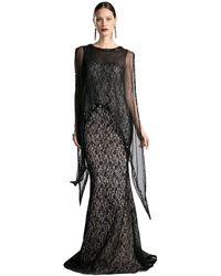 Cinderella Divine Illusion Cape Lace Sheath Evening Gown - Black