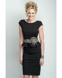 Terani Couture Braid Motif Peplum Sheath Cocktail Dress C3678 - Black