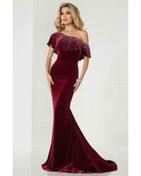 Tiffany Designs Asymmetric Embellished Fitted Trumpet Dress - Red