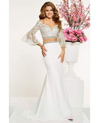 Panoply 14883 Two Piece Beaded Lace Belle Sleeve Dress - White
