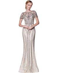 Cinderella Divine Illusion Short Sleeve Art Deco Lace Gown - Metallic