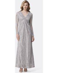 Tahari Twist Front Long Sleeve Sequin Lace Dress - Grey
