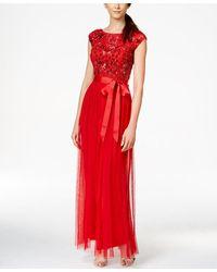 Patra Beaded Bodice Tied Ribbon A-line Dress - Red