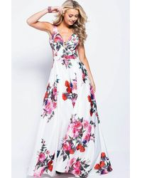 Jovani Sleeveless Side Cutouts Floral Print A-line Gown - White