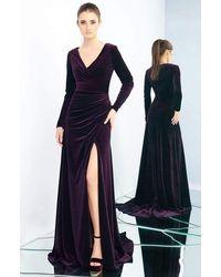 Ieena Duggal 26007i Long Sleeve Velvet Gown In Eggplant - Blue