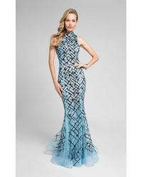 Terani Couture Beaded Mock Neck Mermaid Gown - Blue